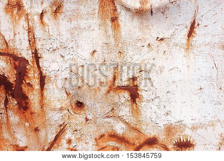 Old Rusty Painted Metal Wall