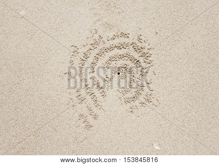 crab hole in the sand. background texture