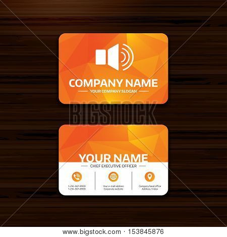 Business or visiting card template. Speaker volume sign icon. Sound symbol. Phone, globe and pointer icons. Vector