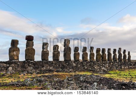 Ahu Tongariki Moais In Easter Island, Chile