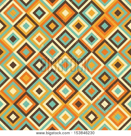 Colorful geometric seamless pattern, grunge elements are on separate layer