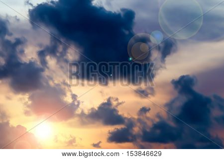 sun and Cloud at evening time background