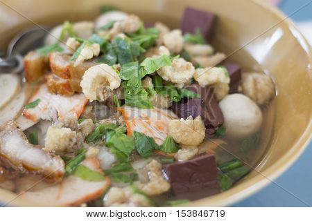 Thai noodle with meatball in the bowl