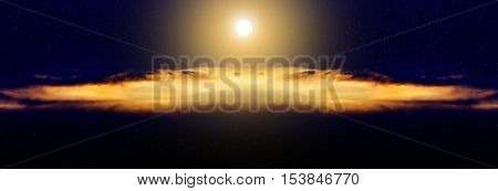 Full Moon and clouds at night. Sky background