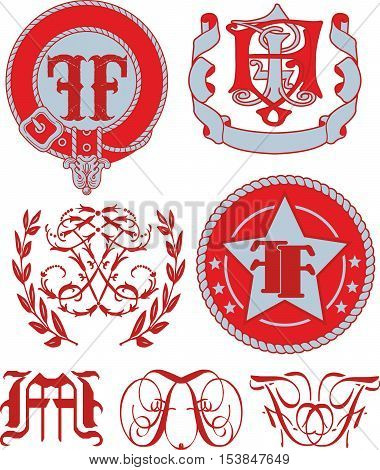 Set Of Ff Monograms And Emblem Templates