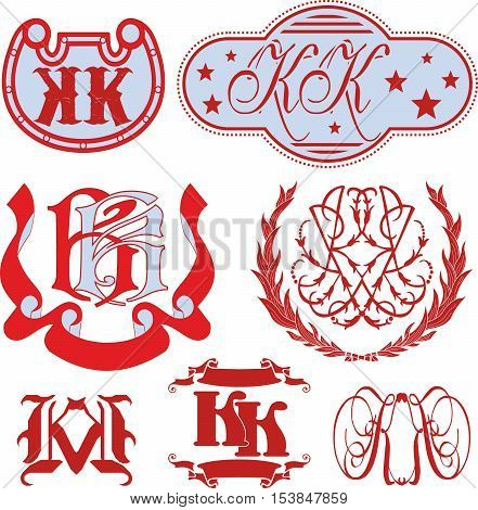 Set Of Kk Monograms And Emblem Templates