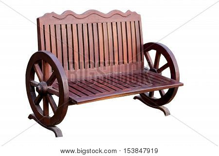 Old of wood bench on white background
