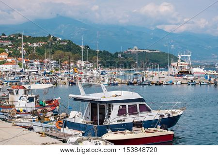 Fishing boat in the harbour of Platamonas. Pieria Central Macedonia Greece Europe