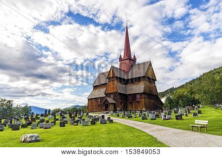 Ringebu, Norway - August 11, 2016: View of Ringebu Stave Church. Built in the first quarter of the 13th century, is one of 28 surviving stave churches and one of the largest.