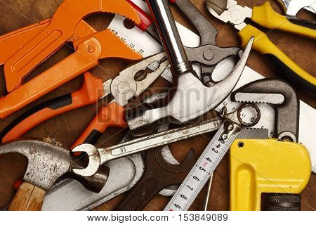 Hand tools on a workbench close up