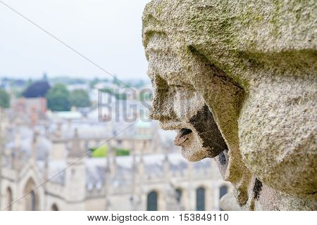 Carved Gargoyle Figure and All Souls College from St. Mary Church. Oxford England UK