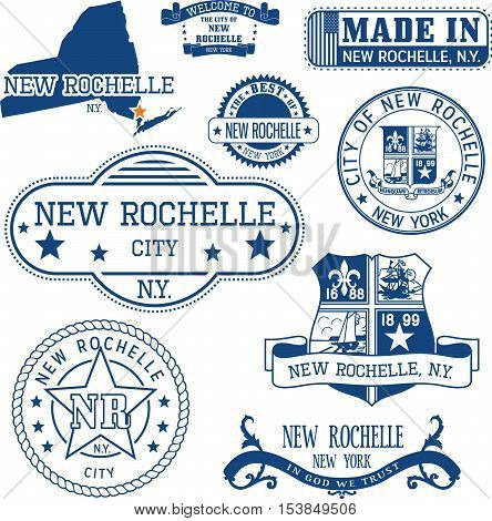 New Rochelle, New York. Set Of Stamps And Signs