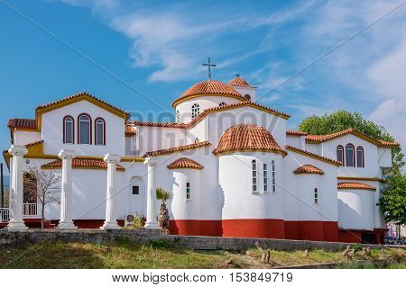 Greek Orthodox Church in Platamonas town. Pieria Central Macedonia Greece Europe