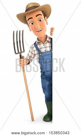 3d farmer with fork behind blank wall illustration with isolated white background