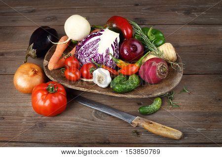 a pile of autumn fresh tasty vegetables