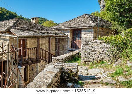 Abandoned Monastery of Agia Paraskevi situated on the edge of Vikos Gorge. Monodendri Zagoria Greece