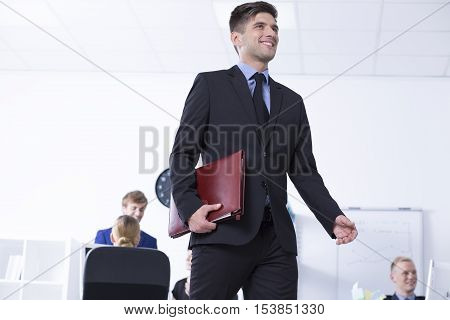 Man With Briefcase And Open Space Area