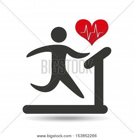 athlete silhouette heart beat walking machine vector illustration