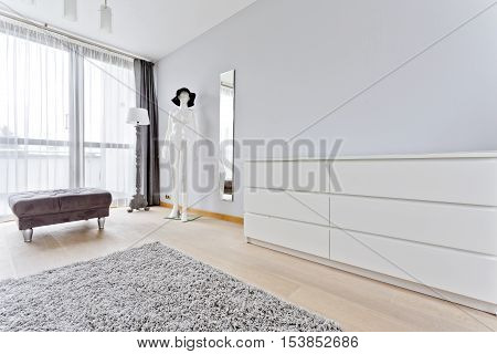Interior With Stylish Pouf, Simple Commode And Manikin