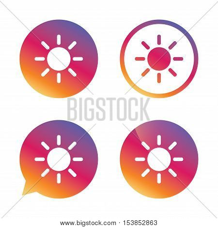 Sun sign icon. Solarium symbol. Heat button. Gradient buttons with flat icon. Speech bubble sign. Vector