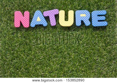 Nature wording by toy alphabet on artificial grass background