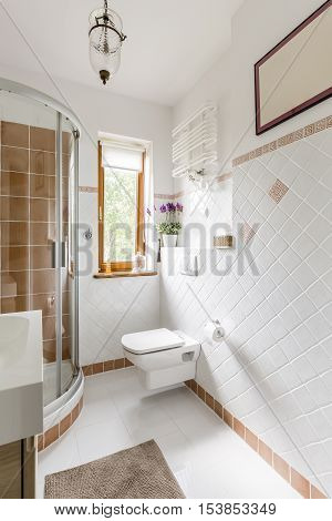 Bathroom Interior With White Tiles