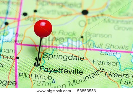 Fayetteville pinned on a map of Arkansas, USA