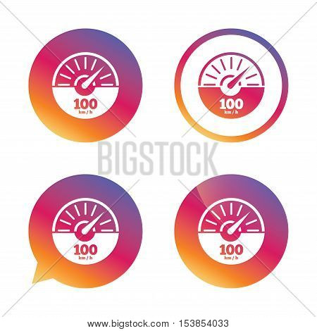 Tachometer sign icon. 100 km per hour revolution-counter symbol. Car speedometer performance. Gradient buttons with flat icon. Speech bubble sign. Vector