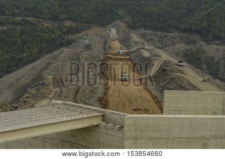 Samsun, Turkey - October 23, 2016: Dam construction operation near Samsun city, Turkey