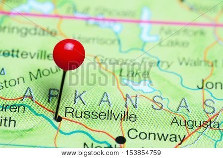 Russellville pinned on a map of Arkansas, USA