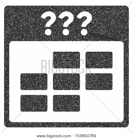 Unknown Month Calendar Grid grainy textured icon for overlay watermark stamps. Flat symbol with dust texture. Dotted vector gray ink rubber seal stamp with grunge design on a white background.
