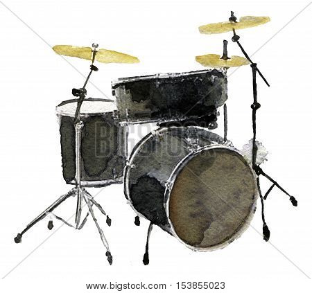 watercolor sketch of drum kit on white background