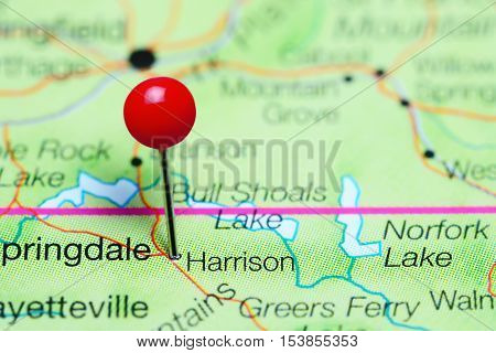 Harrison pinned on a map of Arkansas, USA