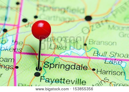 Springdale pinned on a map of Arkansas, USA
