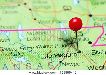 Jonesboro pinned on a map of Arkansas, USA