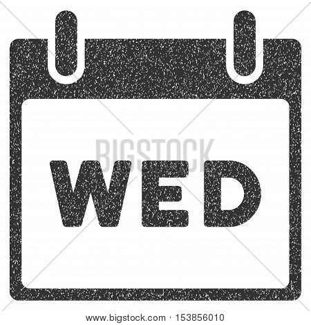 Wednesday Calendar Page grainy textured icon for overlay watermark stamps. Flat symbol with dirty texture. Dotted vector gray ink rubber seal stamp with grunge design on a white background.