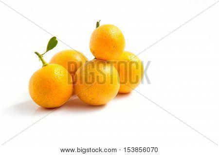 Orange Kumquat (Fruit) placed on white background