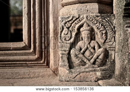 Bas Relief carvings at Prasat Hin Phanom Rung in Barium Thailand