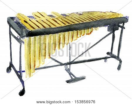 watercolor sketch of vibraphone on white background