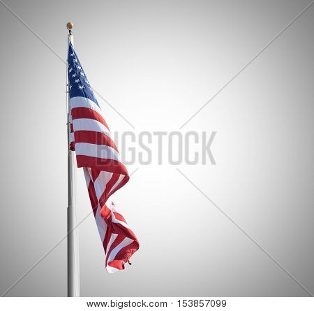 Photo Of American Flag On Gray Background