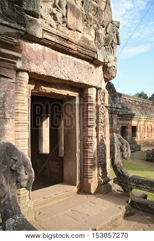 Phanom Rung Stone Castle door in buriram Thailand