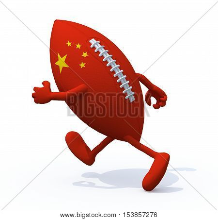 Chinese flag on the rugby ball with arms and legs that runs away 3D Illustration
