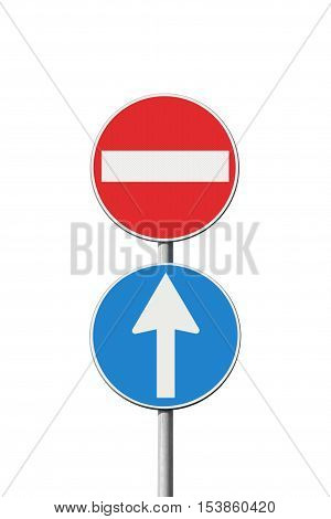 Contradiction concept with road signs - concept image