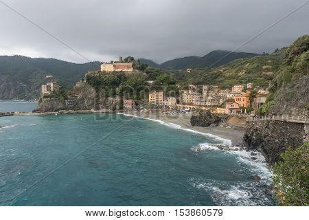 MONTEROSSO ITALY - October 24 2016: View of beach and village of Monterosso Cinque Terre Italy