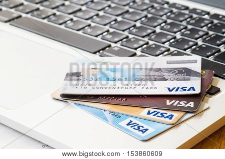 CHIANG MAI THAILAND - JUL 23 2016: Photo of VISA credit card. VISA is an American multinational financial services corporation