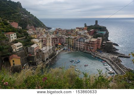 VERNAZZA ITALY - October 24 2016 :Colorful buildings in Vernazza one of the four villages from Cinque Terre in Italy.