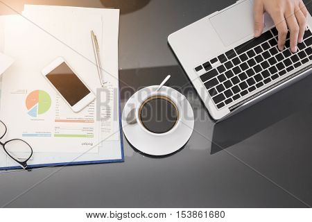 Top view of business work desk with copyspace