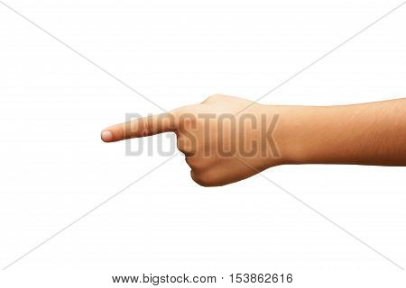 Chidren hand pointing or count for one finger on white background seven years old of asia boy hand pointing .