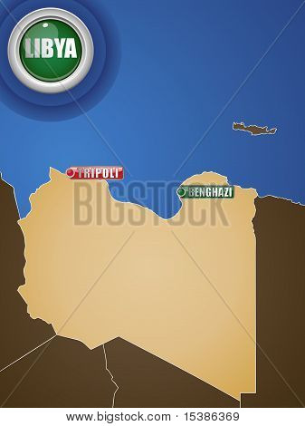 Libya War Map With Cities Tripoli And Benghazi