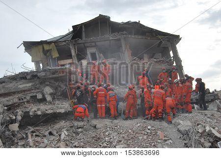 ERCIS, TURKEY-OCTOBER 26, 2011 : Earthquake damage in Ercis, Van, Turkey. October 26, 2011.